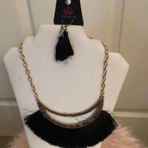 gold black tassel necklace earring no nickel lead